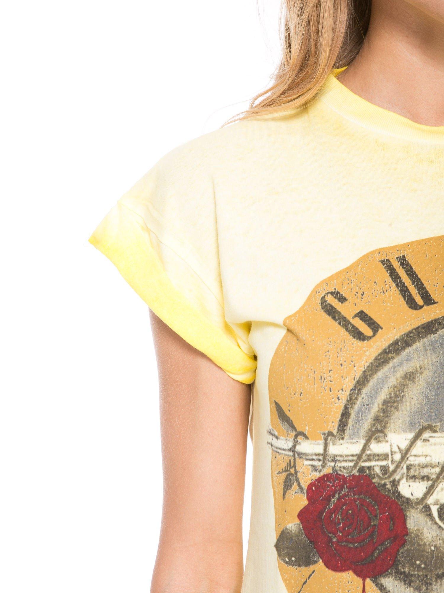 Żółty t-shirt z nadrukiem GUNS N' ROSES                                  zdj.                                  7