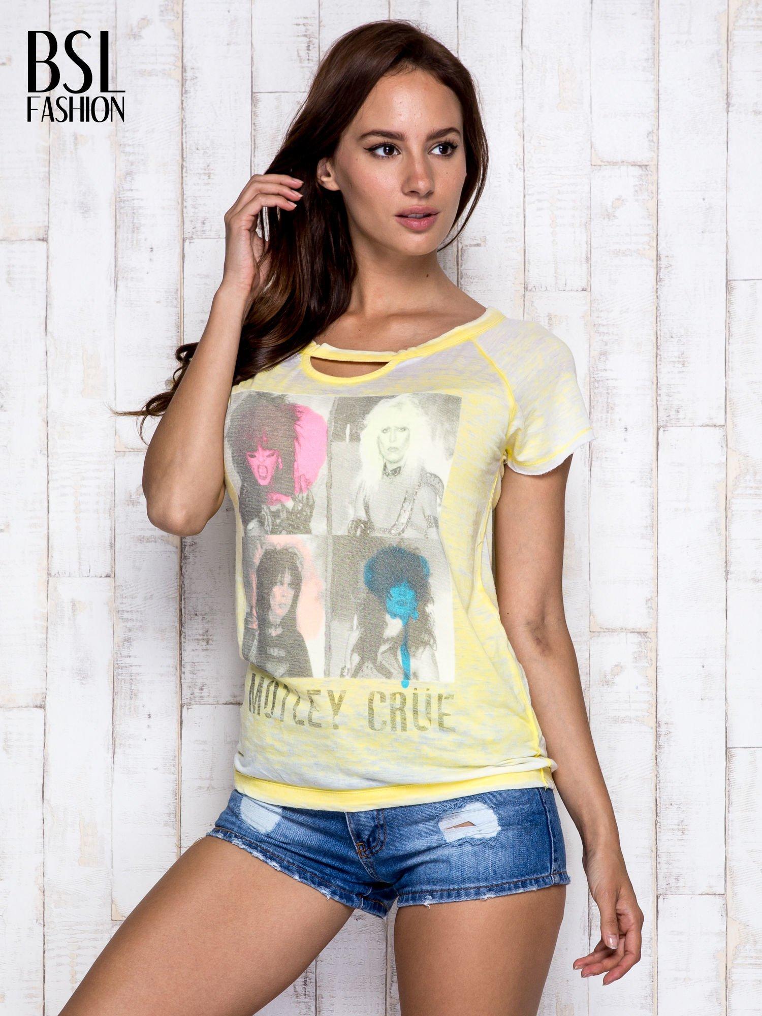 Żółty t-shirt z nadrukiem Mötley Crüe                                  zdj.                                  5