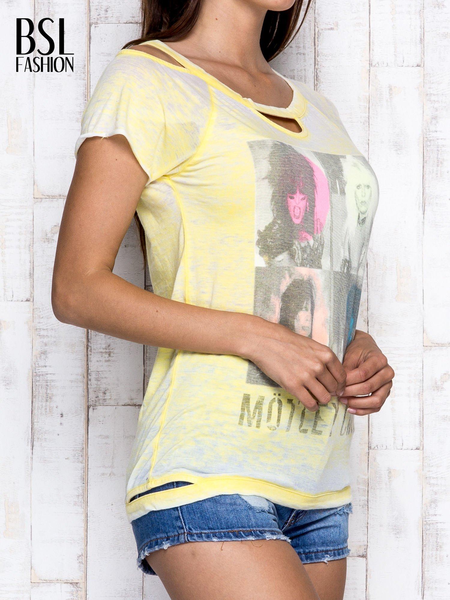 Żółty t-shirt z nadrukiem Mötley Crüe                                  zdj.                                  3