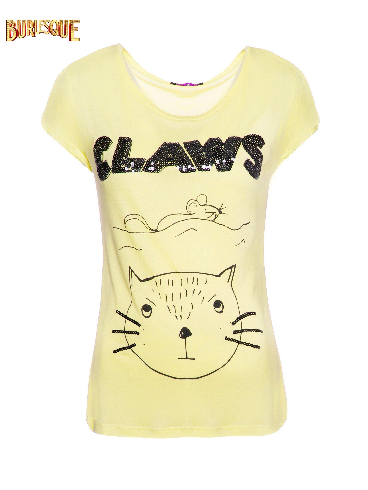 Żółty t-shirt z nadrukiem kota i myszy                                  zdj.                                  1