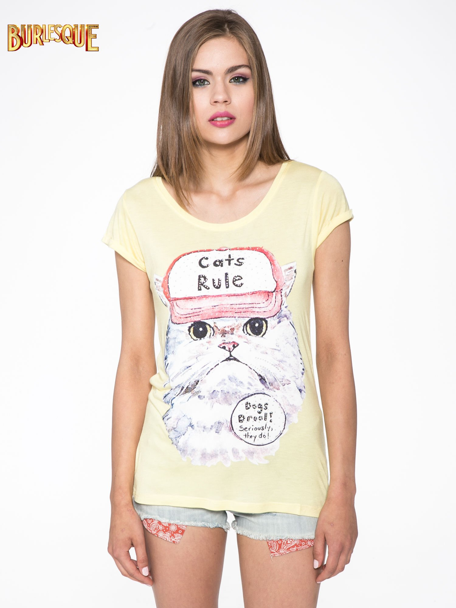 Żółty t-shirt z nadrukiem kota i napisem CATS RULE                                  zdj.                                  9