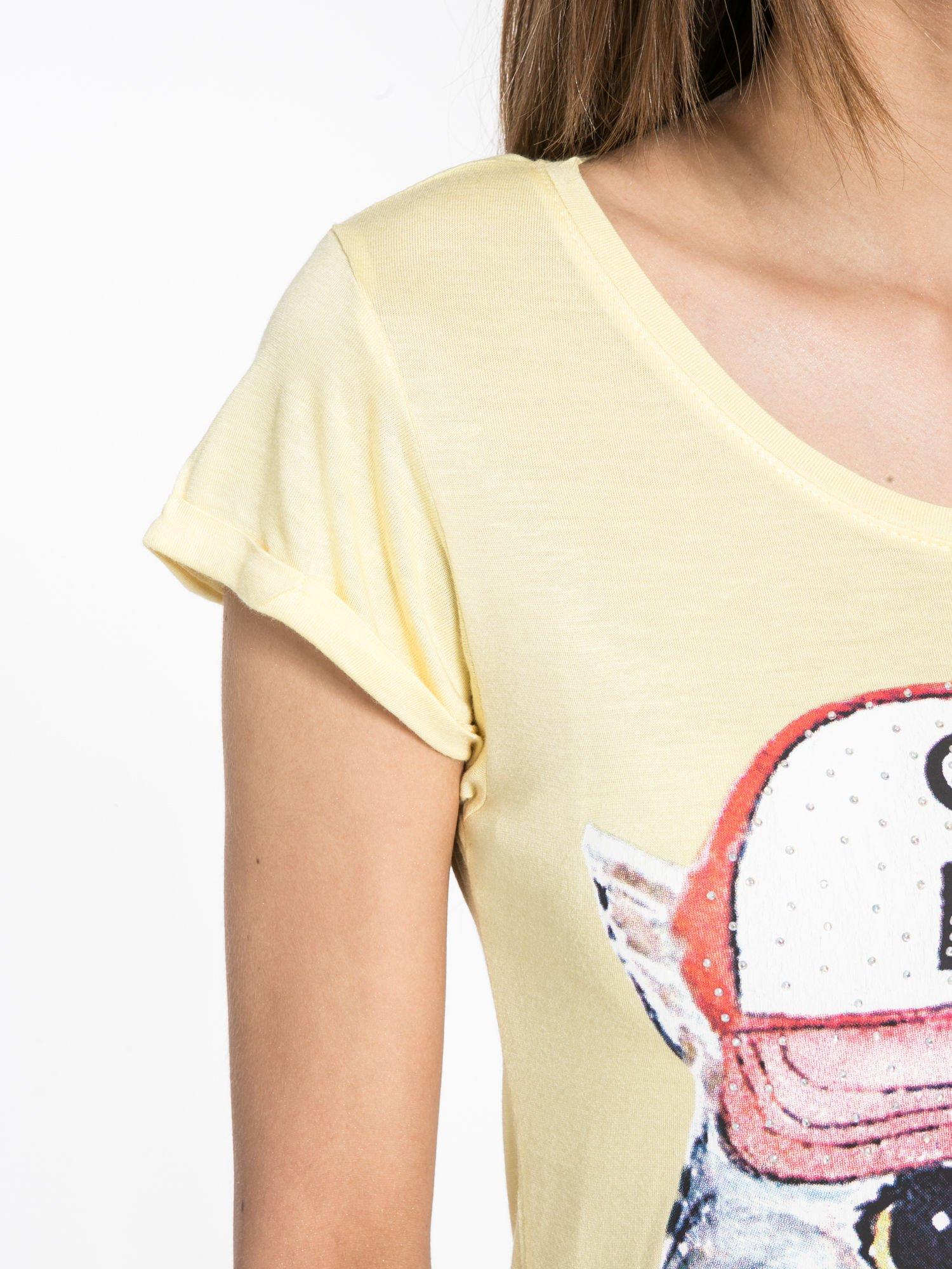 Żółty t-shirt z nadrukiem kota i napisem CATS RULE                                  zdj.                                  5
