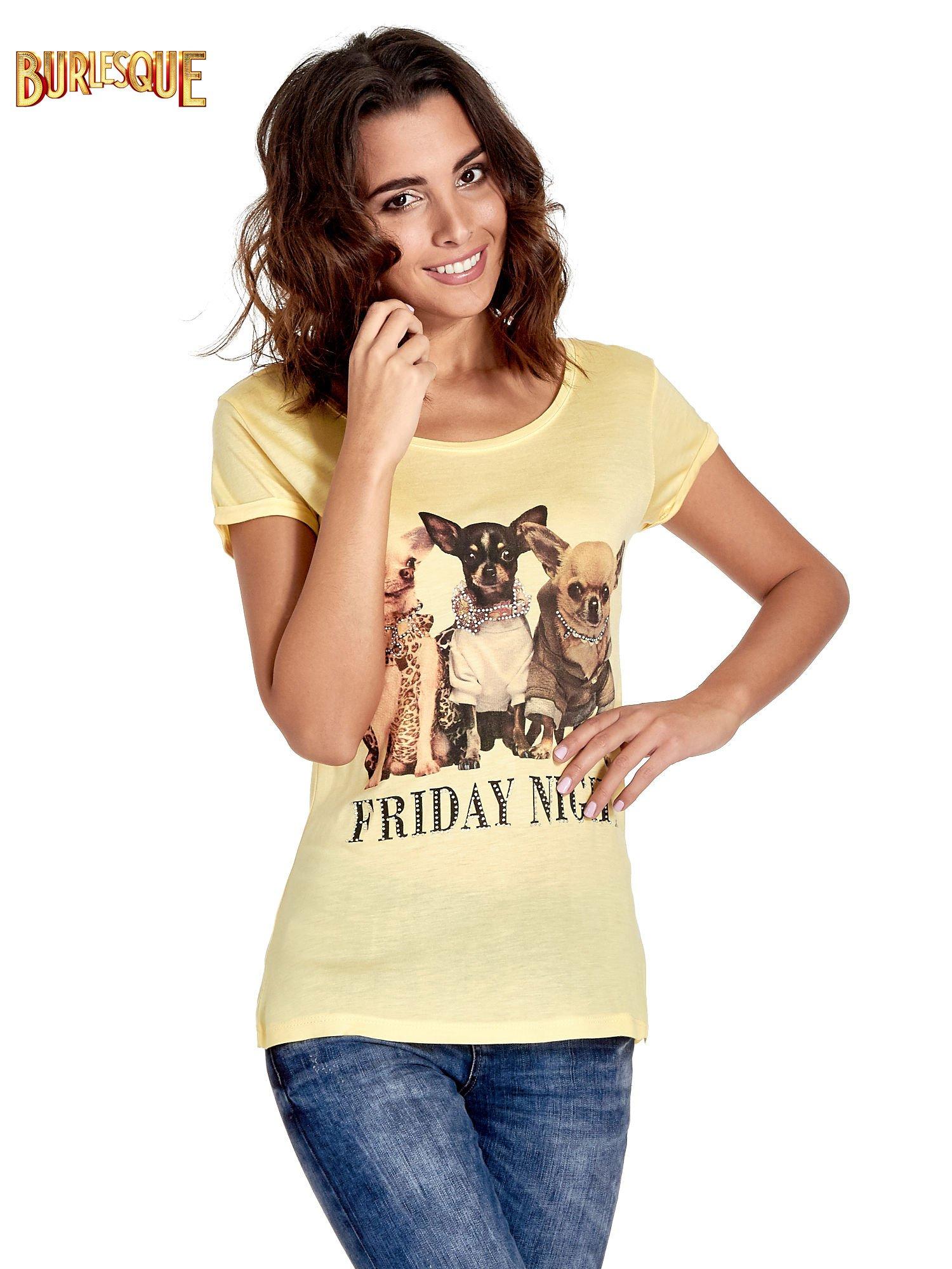Żółty t-shirt z nadrukiem szczeniąt                                  zdj.                                  1