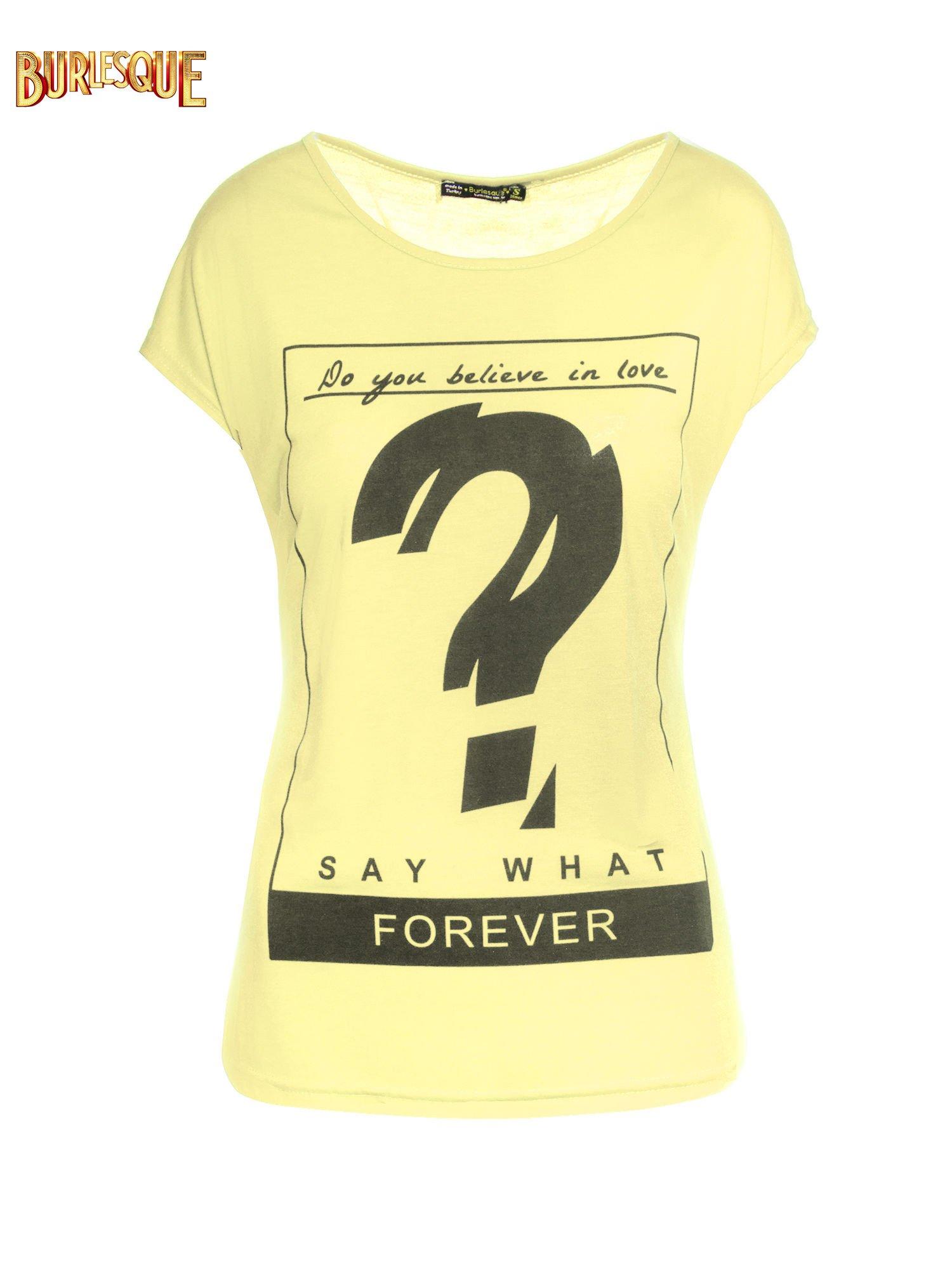 Żółty t-shirt z napisem DO YOU BELIEVE IN LOVE?                                  zdj.                                  7