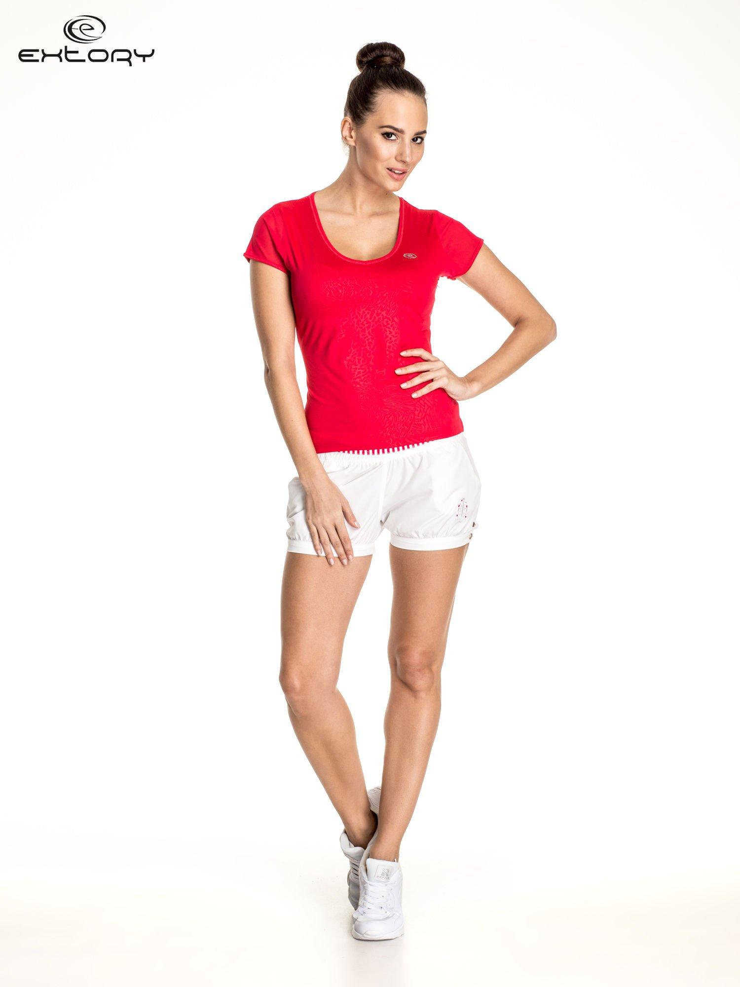 Żyworóżowy panterkowy t-shirt sportowy PLUS SIZE                                  zdj.                                  2