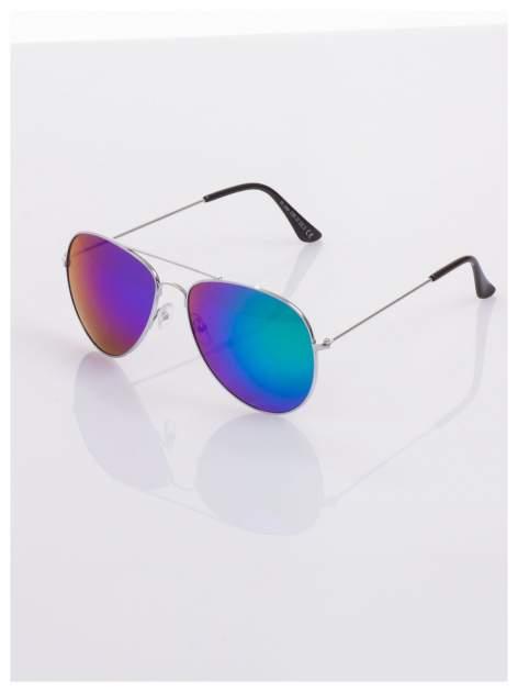 AVIATORY srebrne okulary pilotki lustrzanki niebieskio-zielone