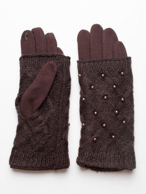 2 w 1 Damskie Brązowe Rękawiczki Dotykowe i Mitenki z perełkami