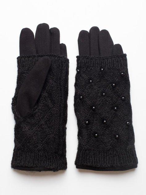 2 w 1 Damskie Czarne Rękawiczki Dotykowe i Mitenki z perełkami