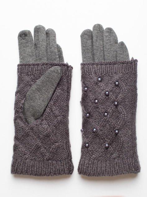 2 w 1 Damskie Szare Rękawiczki Dotykowe i Mitenki z perełkami