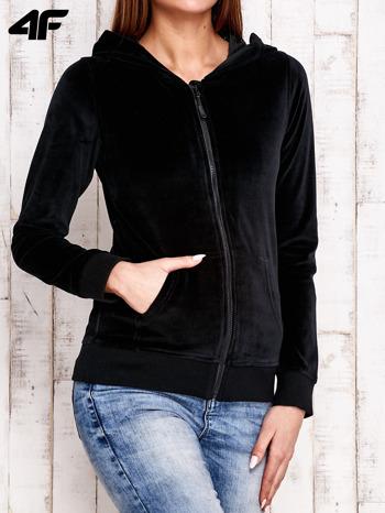 4F Czarna gładka bluza z kapturem                                  zdj.                                  2