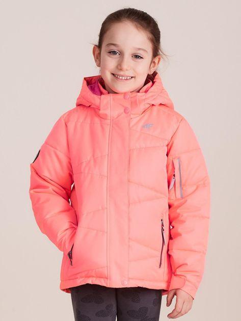 4F Neonowa koralowa pikowana kurtka narciarska dla dziewczynki                              zdj.                              1