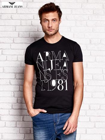 ARMANI JEANS Czarny t-shirt męski z nadrukiem                                  zdj.                                  1