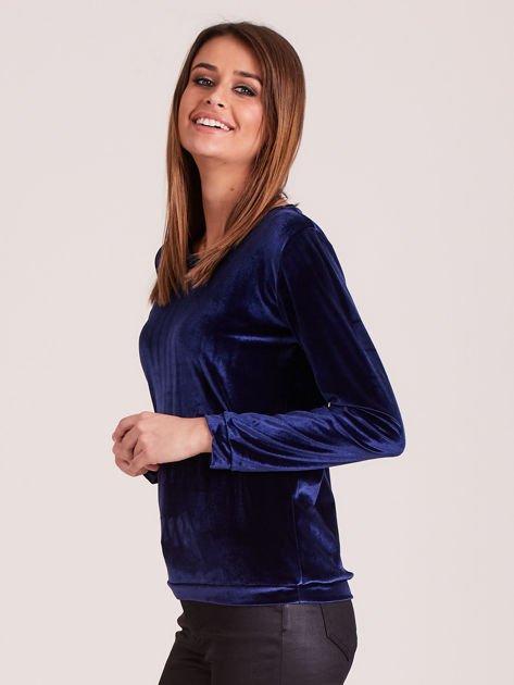 Aksamitna bluza damska granatowa                              zdj.                              2