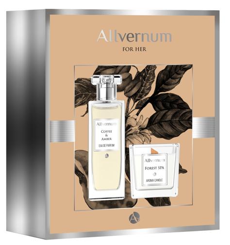 """Allvernum Zestaw prezentowy (woda perf.Coffee & Amber 50ml + świeca Forest Spa 100g)"""""""