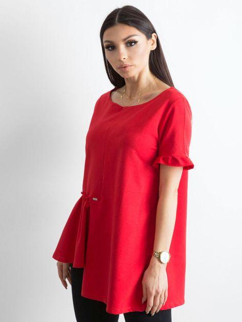 Asymetryczna bluzka czerwona                              zdj.                              3