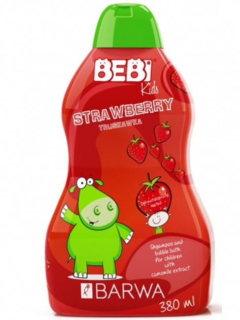 BARWA Bebi Kids Szampon i płyn do kąpieli 2w1 dla dzieci Strawberry 380 ml