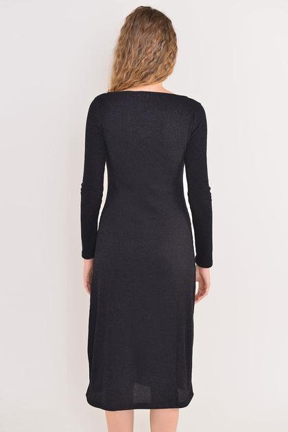 BSL Czarna sukienka ze sznurowaniem                              zdj.                              2