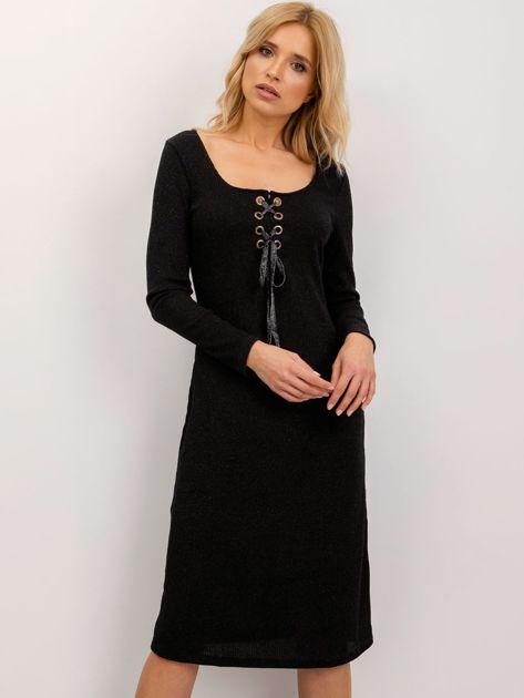 BSL Czarna sukienka ze sznurowaniem                              zdj.                              1