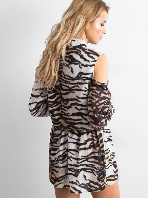 BY O LA LA Biało-czarna sukienka w tygrysie paski                              zdj.                              2