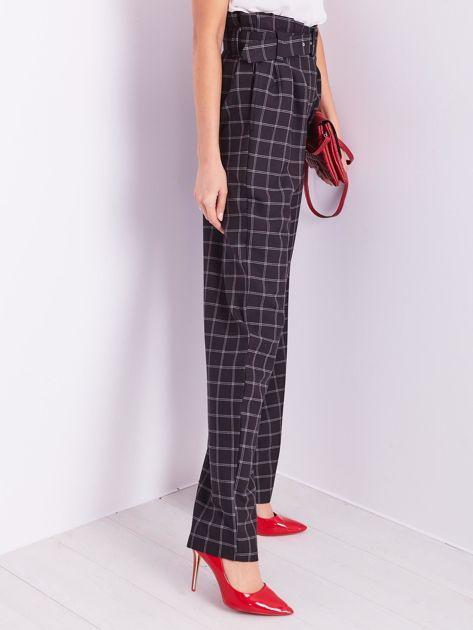 BY O LA LA Czarne eleganckie spodnie w kratę                              zdj.                              8