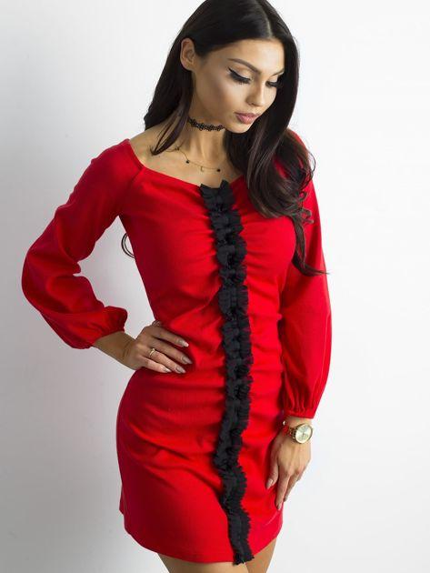 BY O LA LA Czerwona prążkowana sukienka                               zdj.                              7