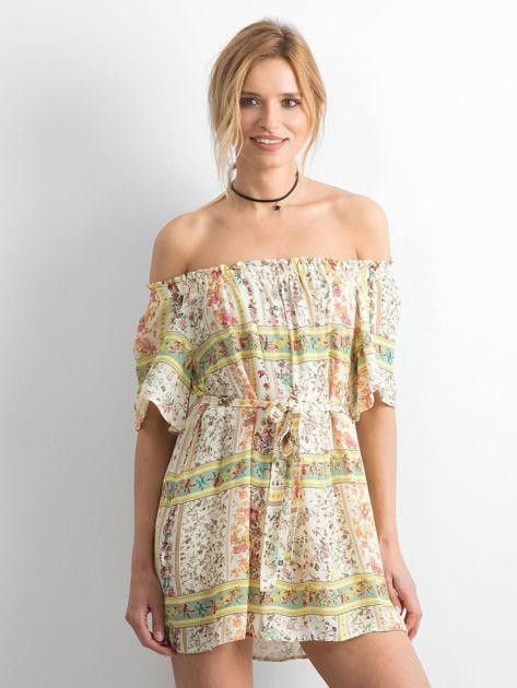 BY O LA LA Jasnożółta sukienka hiszpanka w kwiaty                              zdj.                              1