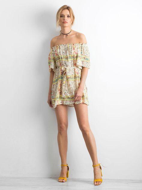 BY O LA LA Jasnożółta sukienka hiszpanka w kwiaty                              zdj.                              4