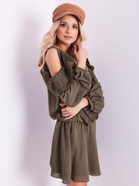 BY O LA LA Khaki sukienka cut out z plisowanym żabotem                              zdj.                              9
