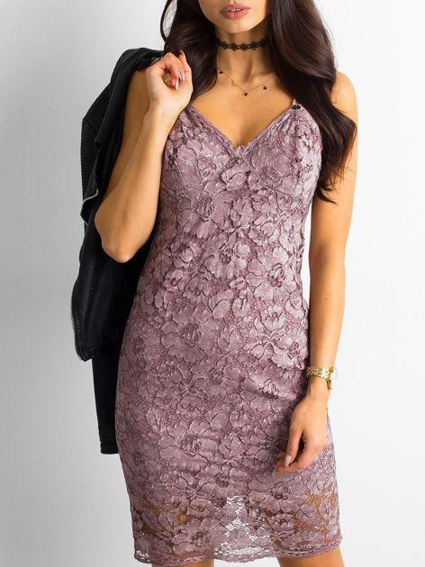 BY O LA LA Różowa sukienka koronkowa                              zdj.                              1