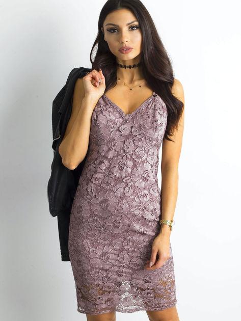 BY O LA LA Różowa sukienka koronkowa                              zdj.                              5