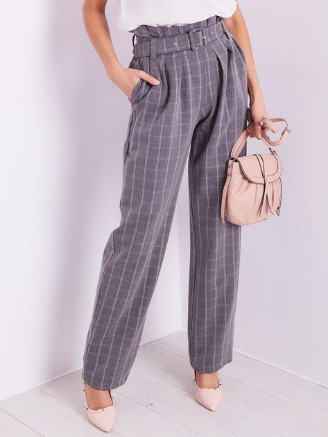 BY O LA LA Szare eleganckie spodnie w kratę                              zdj.                              2