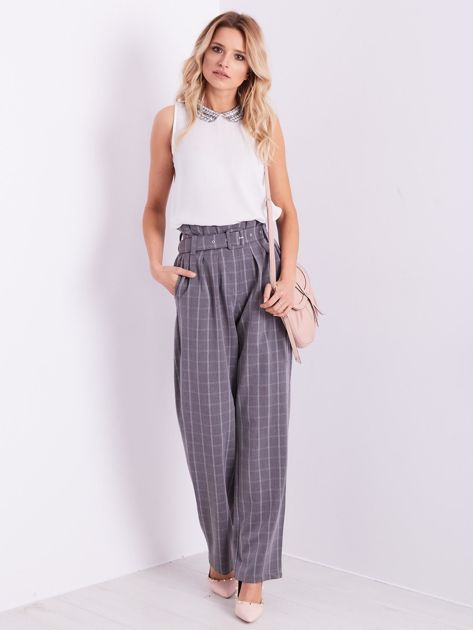 BY O LA LA Szare eleganckie spodnie w kratę                              zdj.                              12