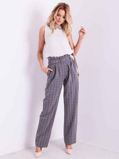 BY O LA LA Szare eleganckie spodnie w kratę                              zdj.                              6