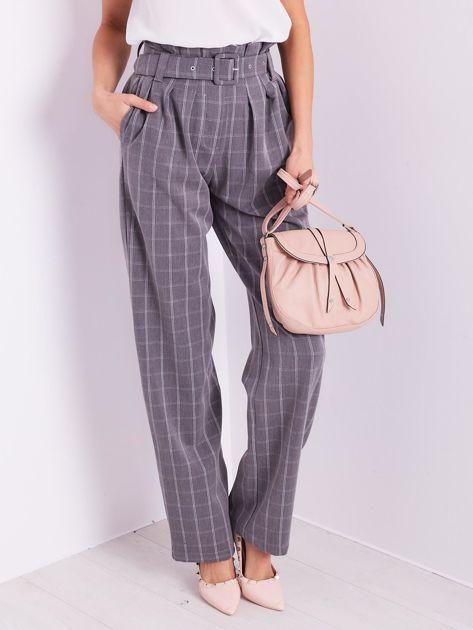 BY O LA LA Szare eleganckie spodnie w kratę                              zdj.                              3
