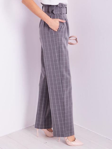 BY O LA LA Szare eleganckie spodnie w kratę                              zdj.                              5