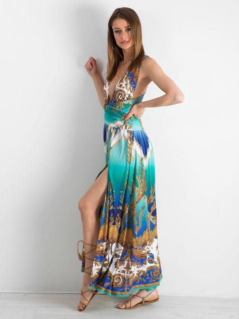 BY O LA LA Zielono-niebieska sukienka we wzory                              zdj.                              3
