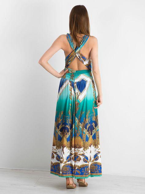 BY O LA LA Zielono-niebieska sukienka we wzory                              zdj.                              2