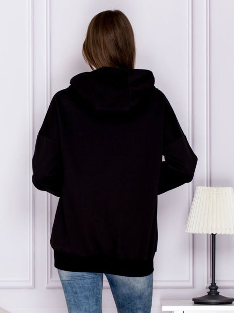 Bawełniana bluza z kapturem i skórzanymi wstawkami czarna                              zdj.                              2