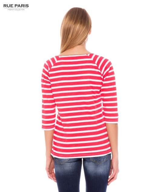 Bawełniana bluzka w biało-koralowe paski w stylu marynistycznym                                  zdj.                                  3