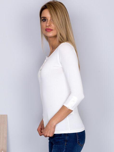 Bawełniana bluzka z guzikami ecru                              zdj.                              5