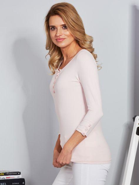 Bawełniana bluzka z guzikami jasnoróżowa                              zdj.                              3