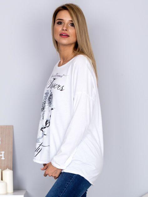 Bawełniana bluzka z nadrukiem kwiatów biała                                  zdj.                                  5