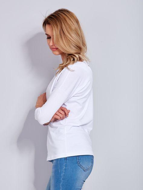 Bawełniana bluzka z trójkątnym dekoltem z tyłu biała                                  zdj.                                  5