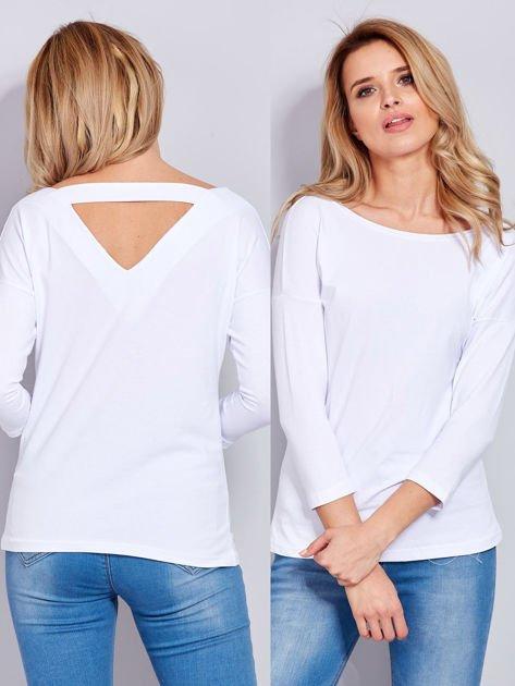 Bawełniana bluzka z trójkątnym dekoltem z tyłu biała                                  zdj.                                  1