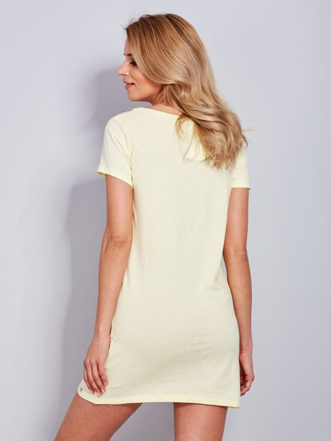 Bawełniana cytrynowa sukienka z napisami                              zdj.                              3