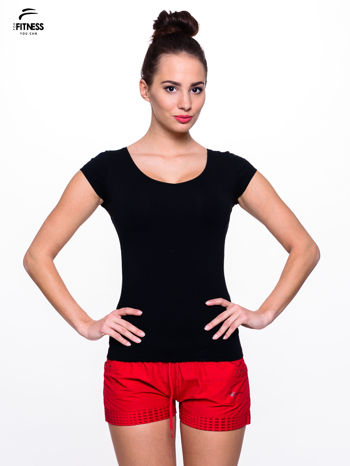 Bawełniana czarna bluzka na krótki rękaw FOR FITNESS