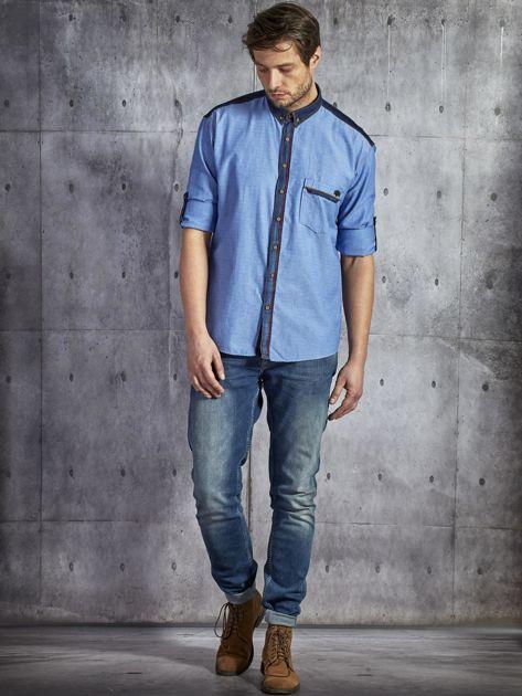 Bawełniana gładka koszula męska z kieszenią niebieska PLUS SIZE                              zdj.                              4