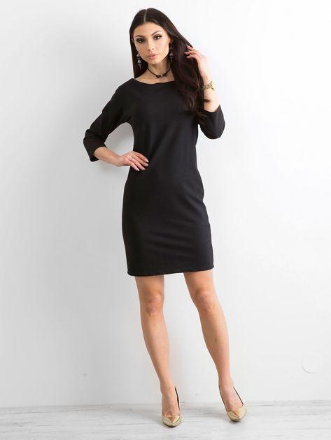 Bawełniana gładka sukienka oversize czarna                              zdj.                              4