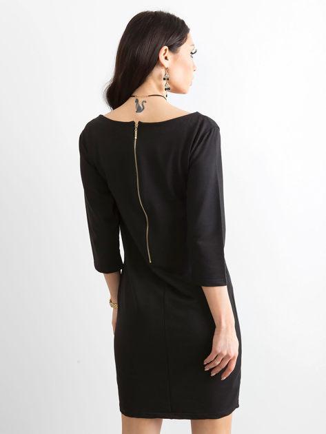 Bawełniana gładka sukienka oversize czarna                              zdj.                              2
