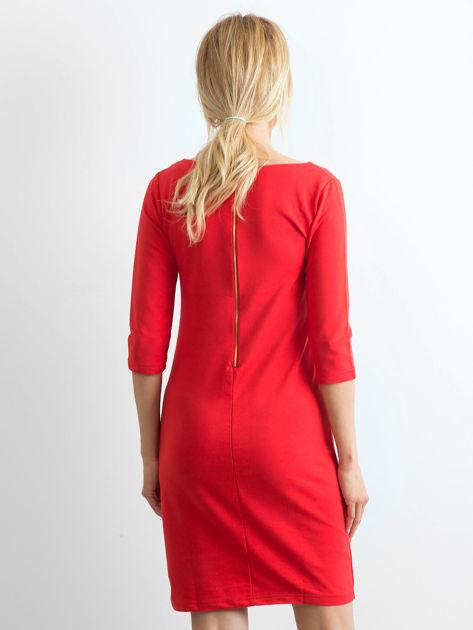 Bawełniana gładka sukienka oversize czerwona                              zdj.                              2
